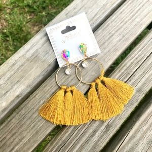 SOLD OUT ✨NEW✨Mustard Crystal Fringe Earrings!